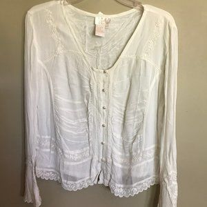 Soft Surroundings Ivory Detailed Blouse With Beads